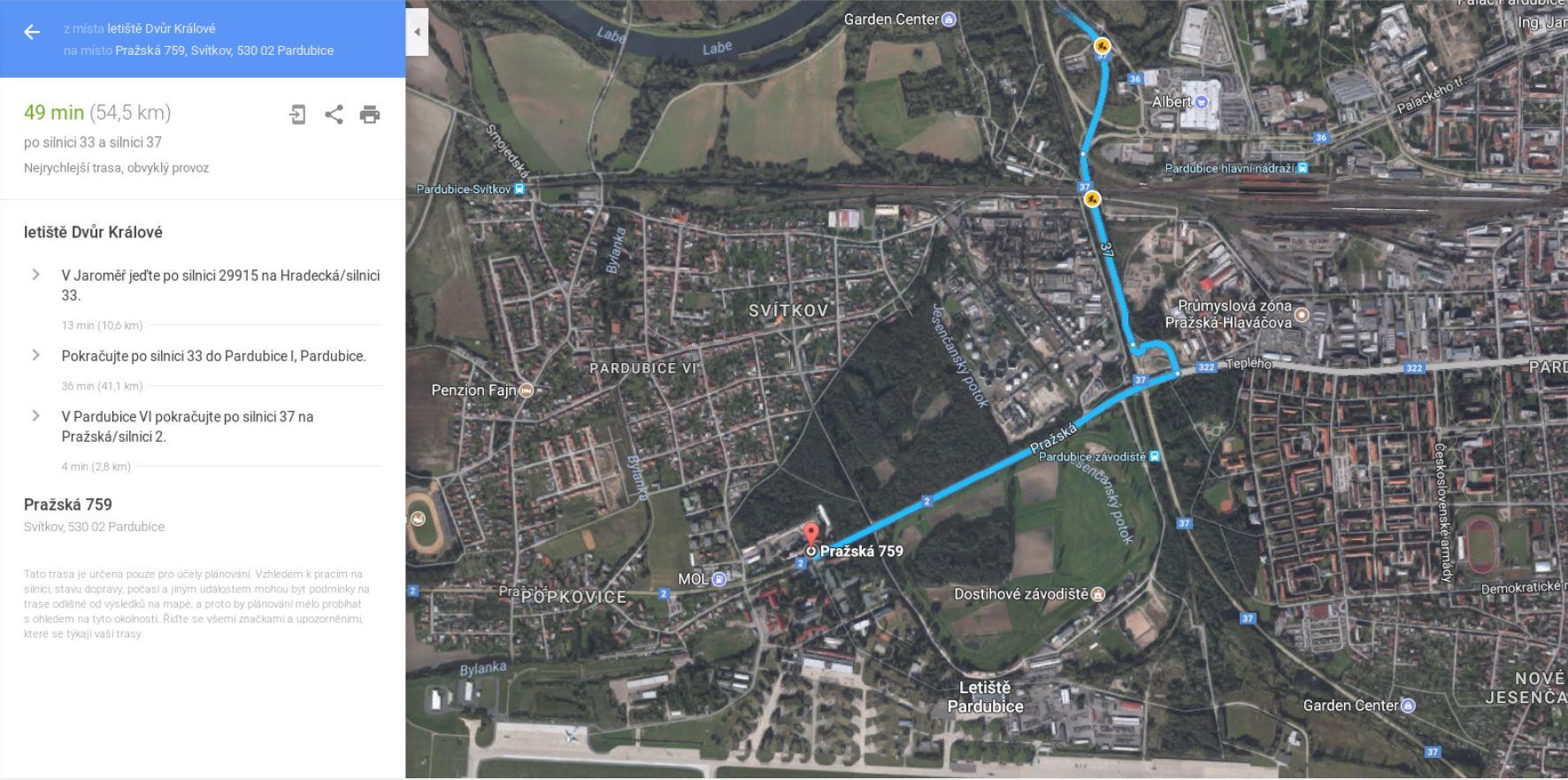 Mapka CLV Pardubice